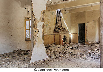 dilapidated housing interior destroyed by bomb explosion