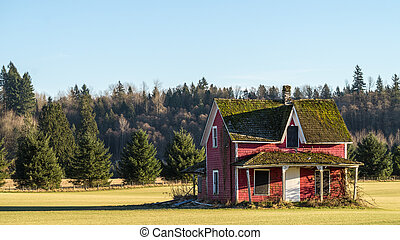 Dilapidated vacant red house in a nice grass field under blue sky