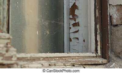 Dilapidated Window - Shriveled old window frame with spider...