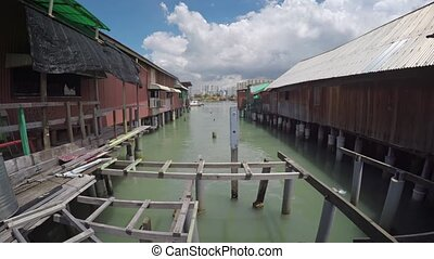 Dilapidated Wooden Pier in Penang, Malaysia. FullHD 1080p...