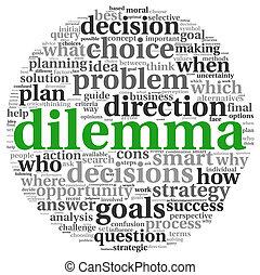 dilema, concepto, en, etiqueta, nube