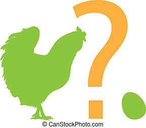 Dilemma - Chicken, egg, question mark. Vector silhouettes....