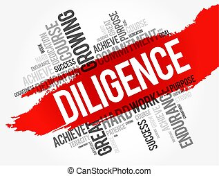 Diligence word cloud collage, business concept background