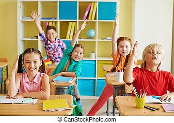 Diligent and clever classmates - Portrait of little...