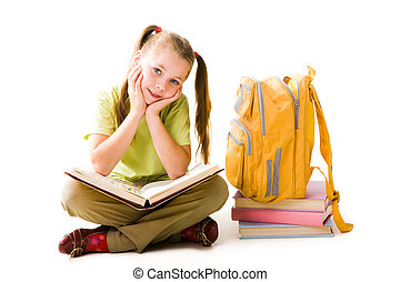 Diligent girl - Portrait of cute schoolgirl with open book ...