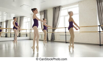 Diligent girls are learning steps on tiptoes dancing in...