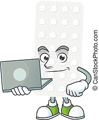 Diligent pills mascot design style working from home with ...