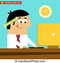 diligently, director, computadora, trabajando