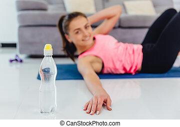 diligently, todos, joven, deportes, ejercicios, prensa, niña
