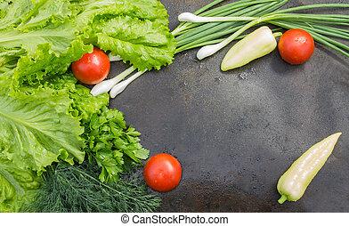 dill, レタス, クローズアップ, 緑, パセリ, 玉ねぎ, トマト