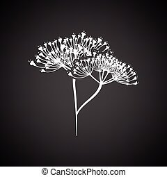 Dill icon. Black background with white. Vector illustration....