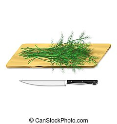 Dill on cutting board with knife