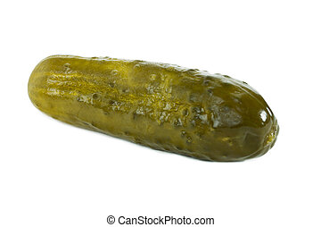 dill pickle - Dill pickle on a close up image against white ...
