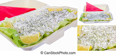dill with sour cream lemon and lettuce