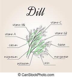dille, vector, lijst, illustratie, voedingsmiddelen