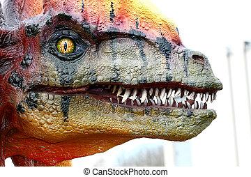 Dilophosaurus dinosaur - Vantaa, FINLAND - APRIL 22:...