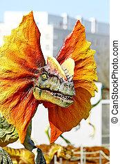 Dilophosaurus dinosaur with orange collar - Vantaa, FINLAND...