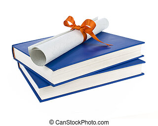 Dilploma and books - A diploma with orange ribbon over blue...