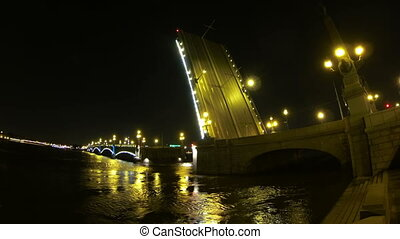 Diluted Troitsky bridge in St. Petersburg Night