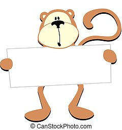 monkey with blank board - dim monkey with blank board for...
