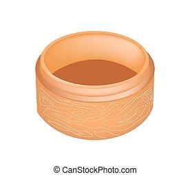 Dim Sum Bamboo Basket on White Background