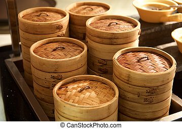 Dim Sum Bamboo container in a restaurant