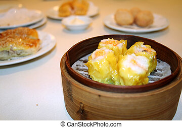 Dim sum - Chinese dim sum, in traditional bamboo container
