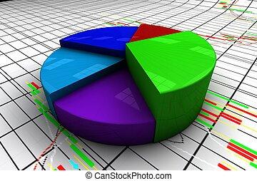 dimensie, drie, kleurrijke, cirkeldiagram