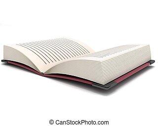 dimensionaal, boek, open, drie