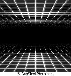 dimensionaal, rooster, ruimte