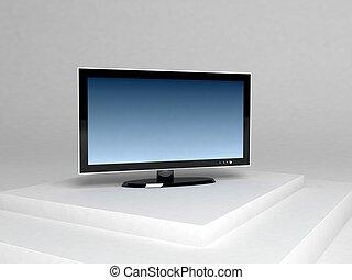 dimensionaal, televisie, plasma, drie