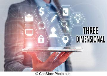dimensional., être, profondeur, avoir, tourné, écriture, texte, trois, space., concept, signification, choses, boîte