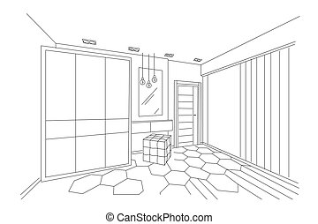 dimensional, bosquejo, dormitorio, moderno, tres