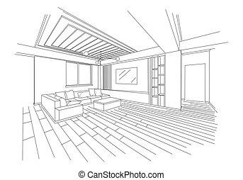 dimensional, bosquejo, habitación, vida moderna, tres