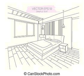 dimensional, bosquejo, moderno, tres, apartamento