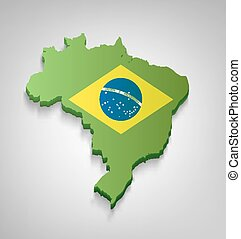 Brazilian Map With Flag - Dimensional Brazilian Map With...