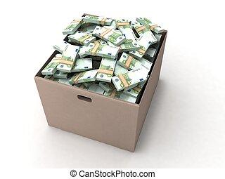 dimensional, cartón, manojos, tres, euro