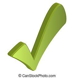 dimensional, checkmark, verde, tres
