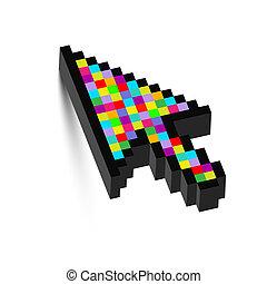 dimensional, coloridos, três, seta