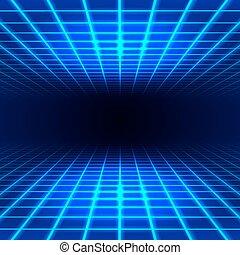 dimensional, cuadrícula, espacio