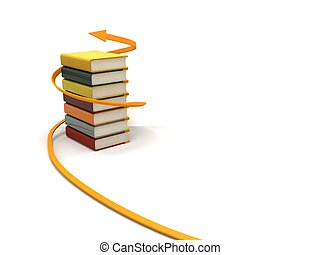 dimensional, envuelto, libros, tres, flecha