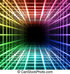 dimensional, gitter, raum