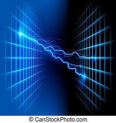 dimensional, gitter, raum, mit, licht