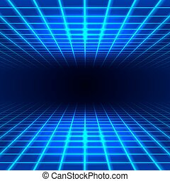 Dimensional grid space - Blue dimensional grid space tunnel ...