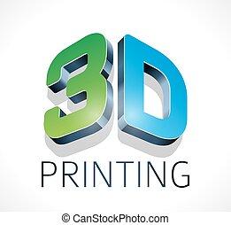 dimensional, logotipo, imprimindo, -, três