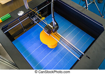 dimensional, máquina, impresión, impresora, 3d