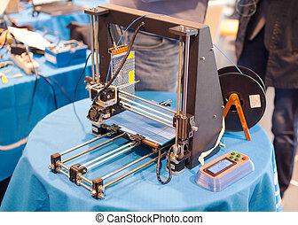 dimensional, máquina, imprimindo, três