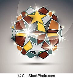 Dimensional metal dazzling orb with gold stars. Vector festive geometric illustration - eps10 shiny stone.