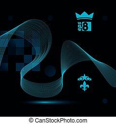 Dimensional motif elegant flowing curves, dark background in motion with five stars emblem, eps8 design backdrop.