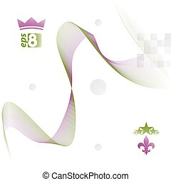 Dimensional motif elegant flowing curves, light background in mo